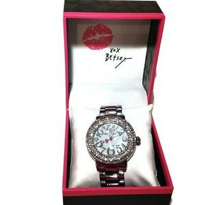 Betsey Johnson All Over Silver crystal bling Watch